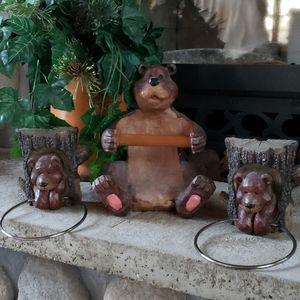 Bear Bathroom Accessories/Towel Rings/Cabin Decor